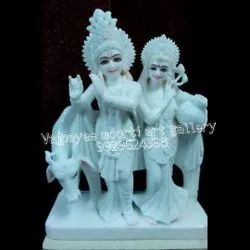 White Marble Radha Krishna Statue With Cow