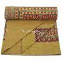 Queen Ajrakh Print Kantha Bohemian Handmade Quilts