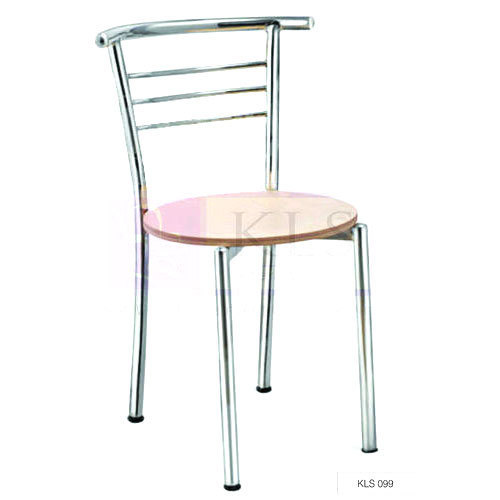 Stainless Steel and Wood Cafe Chair, Height: 4 feet