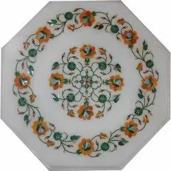 Marble Center Round Table Top Rare Inlay