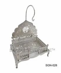 Pure Silver Fancy Engraving God Singhasan