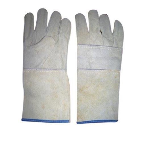 Male White Leather Safety Gloves