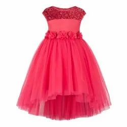 Coral High-Low Girls Party Dress, Age Group: 2-3 to 11-12 Years
