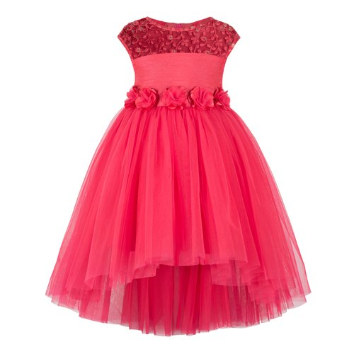 Coral High Low Girls Party Dress