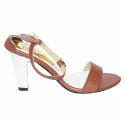 Brown And White Tiesta Block Heels