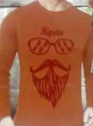 Men's Orange Full Sleeve T-Shirt