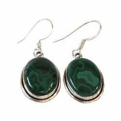 Gemstone Green Natural Malachite Earring, For Jewellery