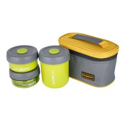 Probott Stainless Steel Food Grade Feast Lunch Box With Carry Pouch Pbh 6009