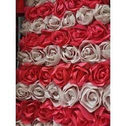 Wedding Wear Georgette Ribbon Design Rose Fabric, GSM: 150-200