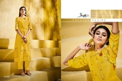 Pure Linen 3/4th Sleeve Yellow Printed Classic Kurti