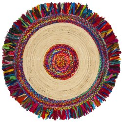 Colorful Boho Woven Jute Chindi Braided Area Rug Decorative Rugs