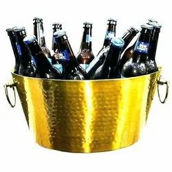 Golden Color Stainless Steel Double Wall Hammered Beverage Party Tub