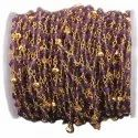 Amethyst with Gold Pyrite Gemstone Beaded Chain