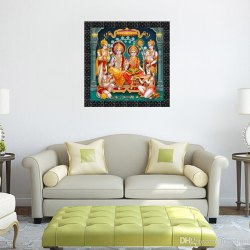 Texture Rectangular Frame with God Sparkle Picture Ram Darbar