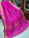 Ladies Embroidered Casual Wear Dark Pink Linen Cut Work Sarees, 6.3 M (with Blouse Piece)