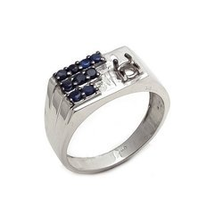 Blue Sapphire Mens Unisex Beautiful High Polished Sterling Silver Rings