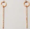 Diamond Studded Gold Wire Hanging Pattern Slim Earrings