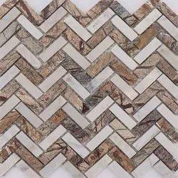 Capstona Stone Mosaic B W Zig-Zag Tiles
