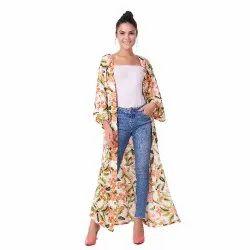 7bc4244a3c Multicolor Polyester White Floral Kimono Shrug