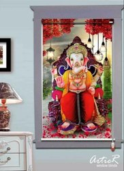 PVC Artier Blinds Ganesha Design On Roller Blind for Windows