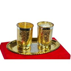 Gold Coating Brass Glasses With Tray