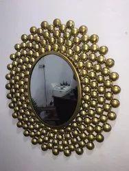 Golden Iron Round Mirror,  Size: 30