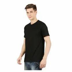 Mens Black Plain Round Neck T-Shirt