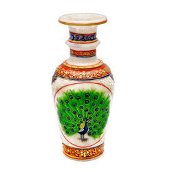 Marble dancing peacock vase 9 inch blue border