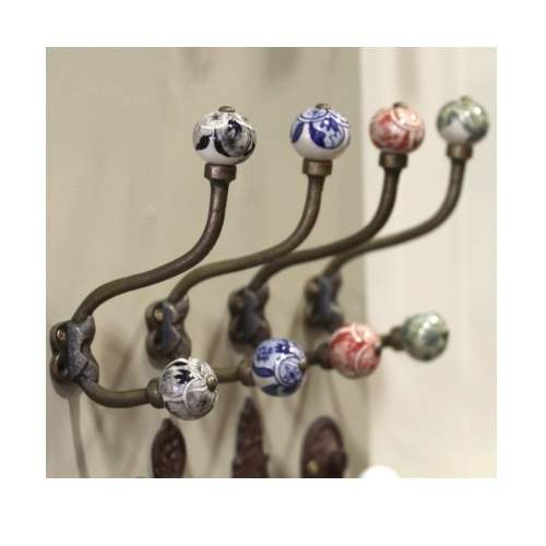 Double Wooden and Ceramic Decorative Hooks