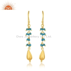 Designer Gold Plated 925 Silver Turquoise Beaded Gemstone Earrings Jewelry