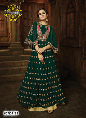 03361504891 Green Georgette Heavy Party Wear Dress