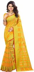 Party Wear Border Yellow Color Manipuri Woven Saree, 5.5 m (separate blouse piece), Machine Made