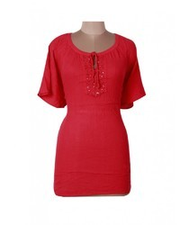 Solid Red Cotton Embroidey Half Sleeve Western Top for Women/Girls