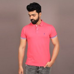 Half Sleeve Mens Casual Wear Collar Neck T Shirt, Size: M