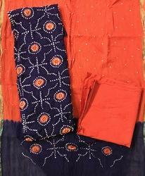 Blue and Orange Unstitched Casual Bandhani