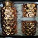 Golden Copper Bottle & Glass Gift Set