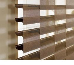Black And Dark Coffee PVC And Mat Triple Layer Blinds