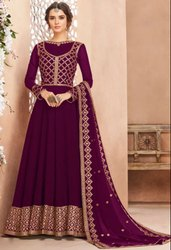 Wine Heavy Anarkali With Georgette Dupatta