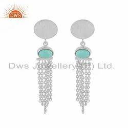 925 Sterling Silver Arizona Turquoise Chandelier Earrings