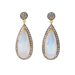 Rainbow Moonstone Pave Set Gemstone Earrings