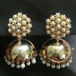 Ladies Ethnic Gold Plated Brass Jhumkas