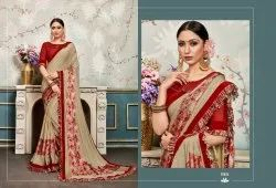 Frill Lycra Fancy Designer Sarees From Catalog Florence