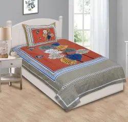 Single Bed sheet Cotton Leaf Print