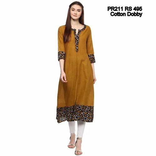 Prakhya Cotton Mustard Colour Kurti