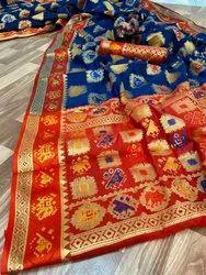 Wedding Wear Printed Banarasi Patola Saree, Hand Wash, 6.30 Mtr