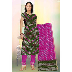 Green Print Bandhej Suit