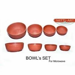 Mitti Art Red 4 Piece Clay Bowl Set