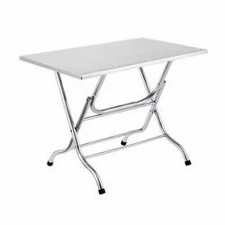Hotel Resources Stainless Steel SS Folding Table, Metel