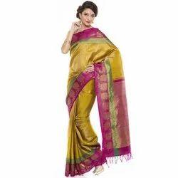 Silk Mix Ladies Kanchivaram Party Wear Saree, 6.3 m , With Blouse Piece