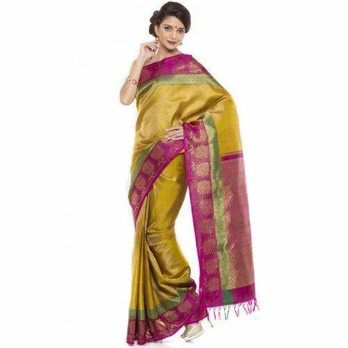 Silk Mix Ladies Kanchivaram Party Wear Saree, 6.3 m ,With Blouse Piece